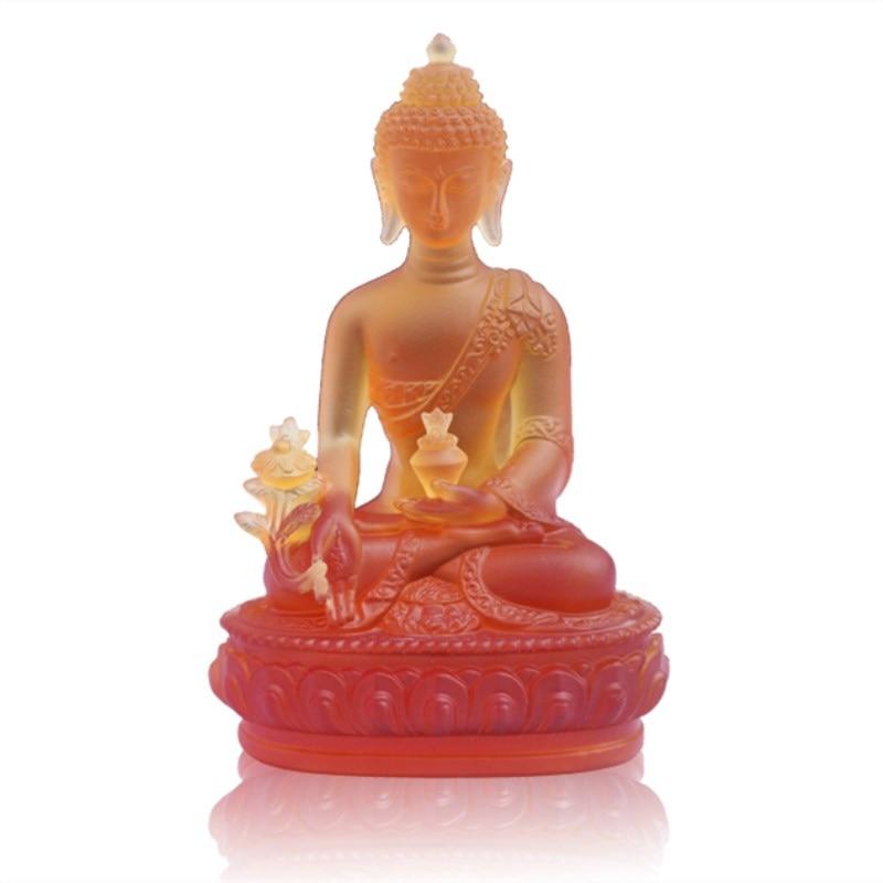 Barevná Claze Buddha socha Fengshui Bůh bohatství Pryskyřice - Dekorace interiéru - Fotografie 5
