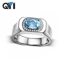QYI Fashion Rings Natural Sky Blue Topaz Engagement 925 Sterling Silver Wedding Ring Bridal Jewelry for Women art deco colorful