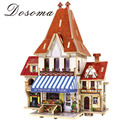3D Puzzle Room Diy Room French Style DIY 3D Wood Model 3 Styles French Building Wood Puzzles Room Toy Wooden Toys For Kids