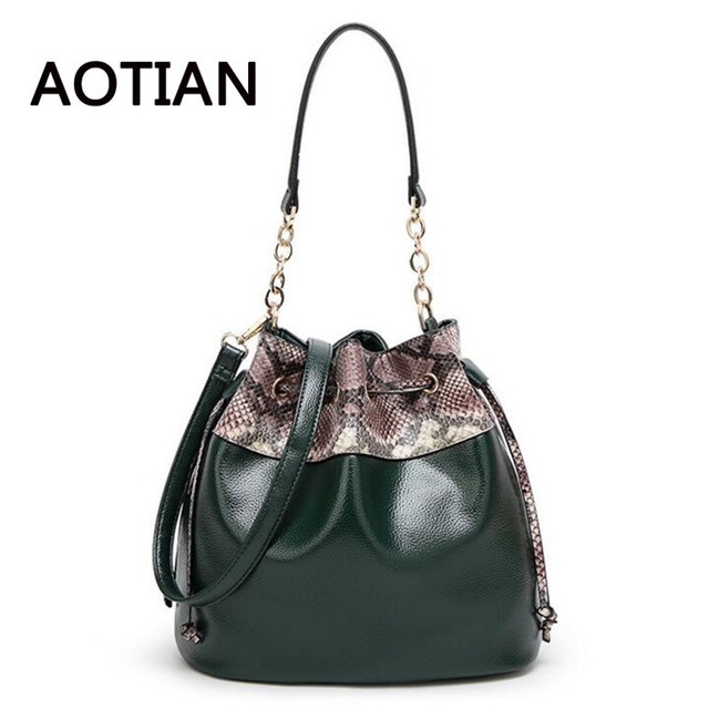 Bucket Bags Women Handbags Pu Leather Black Snake Print Crossbody Chain Shoulder Female Messenger