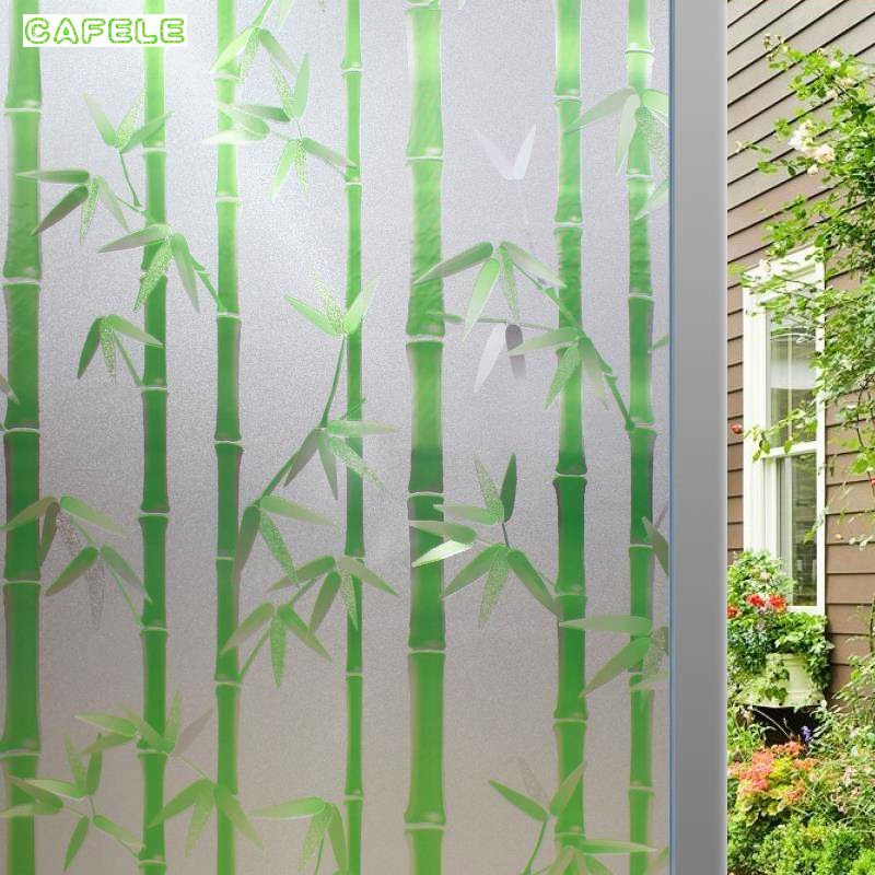 Wide 45/60/90cm No-glue Frosted Window Cover Film Waterproof Static Cling Glass Foil Window Sticker Bamboo Bathroom