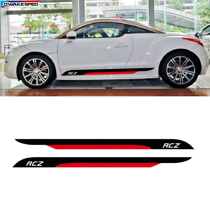 Auto Door Side Skirt Stripes Sport Styling KK Vinyl Decal Car Accessories Body Customized Sticker For PEUGEOT RCZ 2011 2014-in Car Stickers from Automobiles & Motorcycles