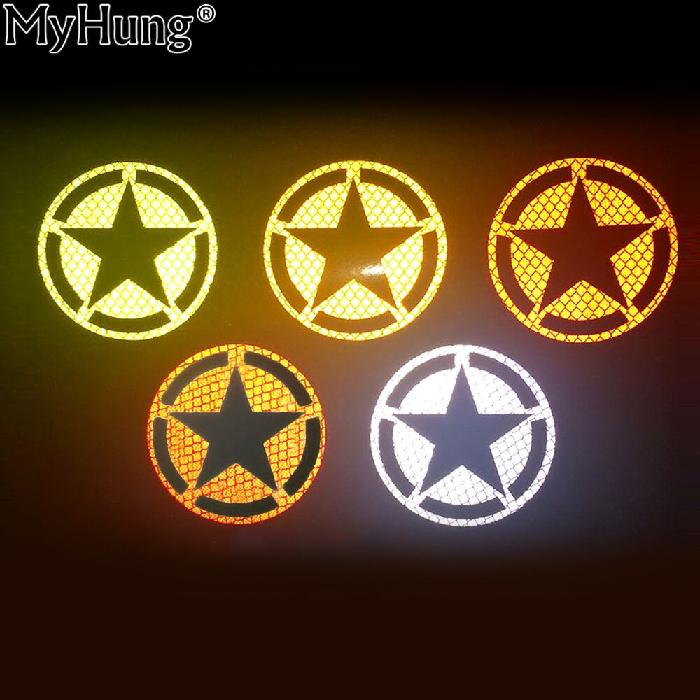 Us army star reflective car decal bumper sticker for all cars suv motorcycle autocycle bicycle bike special stars car stickers in car stickers from