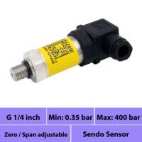 4 20mA pressure sensor, gauge pressure 0.35 bar to 400 bar, 1 bar, 2.5bar, 4bar, 5bar, 10 bar, 16bar, 20bar, 25bar, 30bar, 40bar
