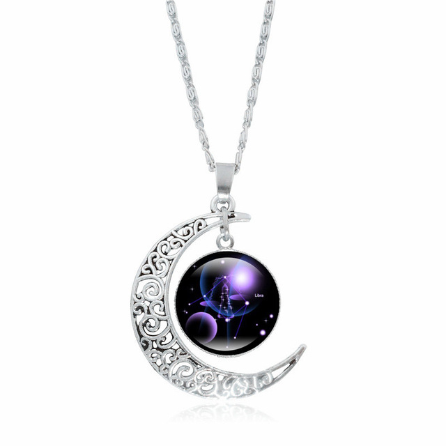 XUSHUI XJ 12 Constellation Glass Cabochon Pendant Necklace Silver Crescent Moon Jewelry Chain Necklace Women girl Family gifts 3