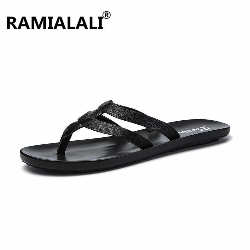 3b009f88e51c Ramialali Leather Beach Men Slippers Flip Flops Breathable Men Summer Shoes  Fashion Beach Sandals Shoes Men