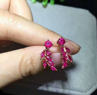Natural Red Ruby Stone Earrings 925 Silver Natural Gemstone Earring Fashion Cute Goldfish Flowers Women Girl