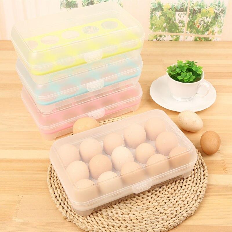 15 Grid Food Container Organizer Convenient Egg Storage Boxes