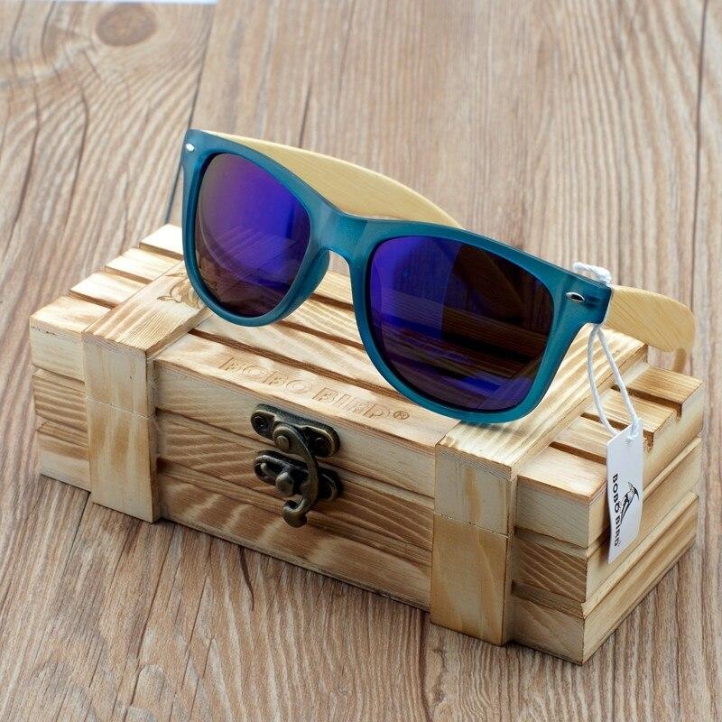 BOBO PÁSSARO Azul Transparente Quadrado De Madeira De Bambu Óculos De Sol  Das Mulheres óculos de Sol Espelhado Polarizada Estilo Verão em WoodBox  BS05 em ... 017adb7fc6