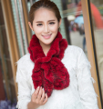 New year gifts for women Solid Adult Novelty Scarf Bufandas Wholesale Opulent Real Mink Knitted Fur Flouncing Scarf Cape