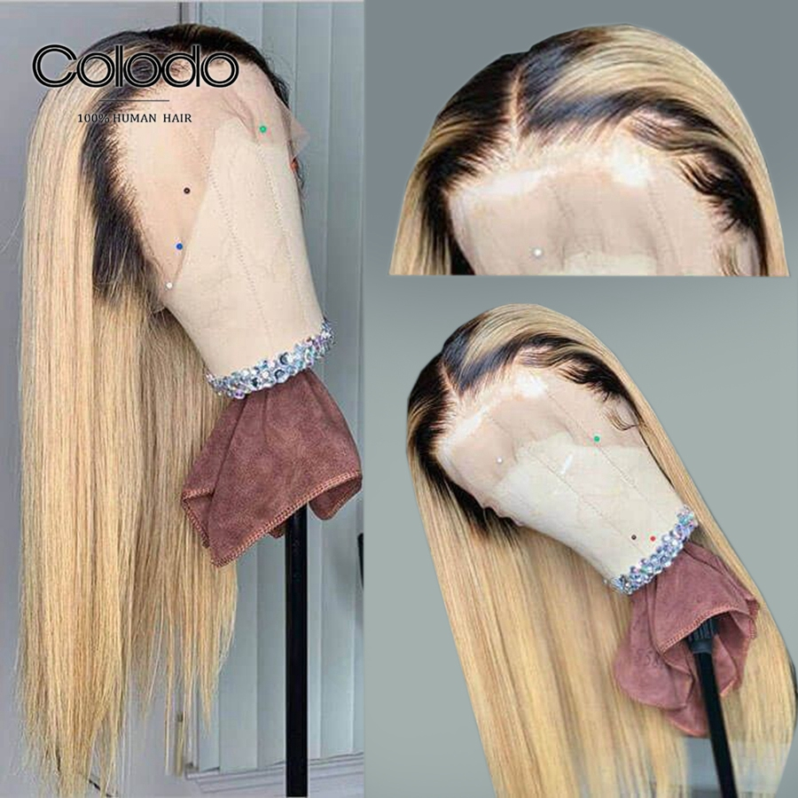 COLODO Remy Blonde Wig With Dark Root Brazilian Ombre Color Long Straight Human Hair Lace Front Wigs Pre Plucked Bleached Knots