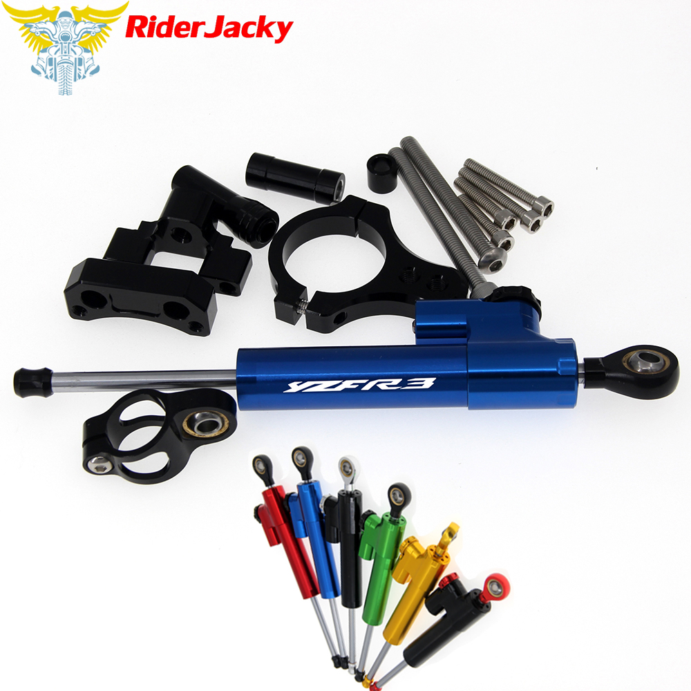 CNC Adjustable Motorcycle Linear Reversed Steering Damper with bracket Support For Yamaha YZF R3 YZFR3 2015