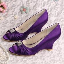 (20 Colors)Wedopus Custom Handmade Designer Wedge Heel Shoes Women Wedding Purple