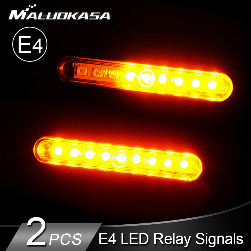 2PCS Motorcycle Turn Signal Light E24 LED Flowing Water Blinker Tail Flashing Turning Indicator Flexible Bendable Flasher Lights