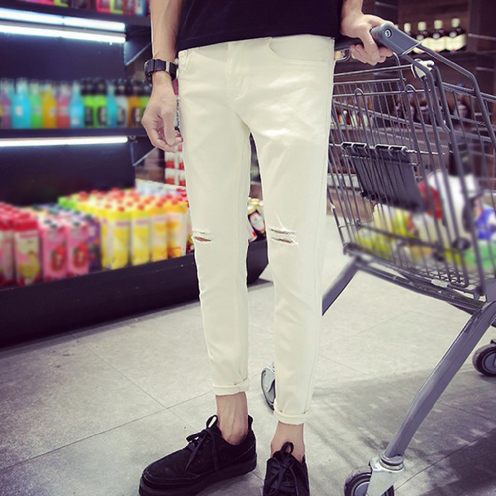 Summer Mens Ankle-length Pencil Pants Fashion Men White Slim Ripped Hole Pants Male Jeans Trousers Denim Pants with Zipper Type