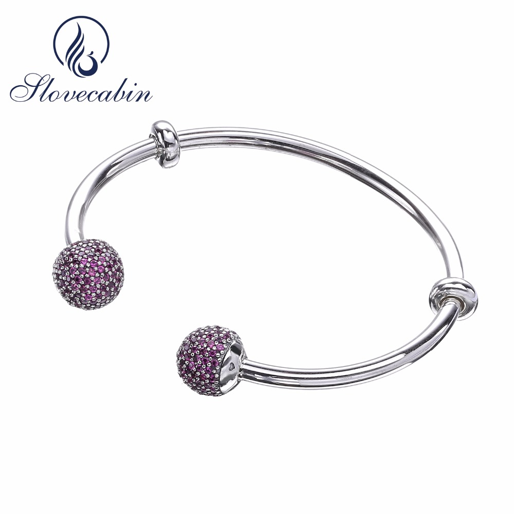 Slovecabin 2017 Autumn 925 Sterling Silver Open Cuff Bangle & Bracelet For Women Purple Stone Open Wedding Bangle For DIY Beads slovecabin 2017 new unique moment open bangle bracelet for women 925 sterling silver pave stone open bangle for bead diy jewelry