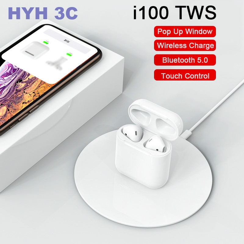 i100 <font><b>TWS</b></font> Pop-up Bluetooth 5.0 Earphones For iPhone With Wireless Charging Real Battery PK i20 i30 i60 <font><b>TWS</b></font> <font><b>i80</b></font> i90 i100 <font><b>TWS</b></font> image
