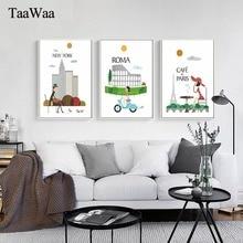 TaaWaa nueva York londres Vintage cartel la mañana del paisaje de ciudad cuadro sobre lienzo para pared estampado pintura para la decoración del hogar de la habitación