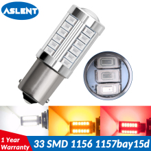 ASLENT 1pcs 1156 BA15S P21W 33 SMD 5630 LED 1157 BAY15D P21/5W Car Tail Bulb Brake Lights 12V Auto Reverse Lamp led Signal Light