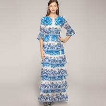 Women's vintage dress New 2019 summer retro print flare sleeves layered dress high quality beading maxi dress A204