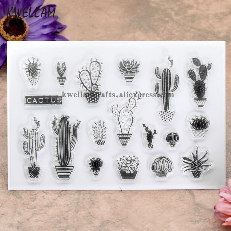 Plant Cactus Scrapbook DIY Photo Cards Rubber Stamp Clear Transparent 10x15m KW8030314 In Stamps From Home Garden On Aliexpress