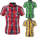 2017 New Man Short Sleeve Mens Plaid Check Shirts Casual Turn Down Collar Slim Fit Chemise Homme