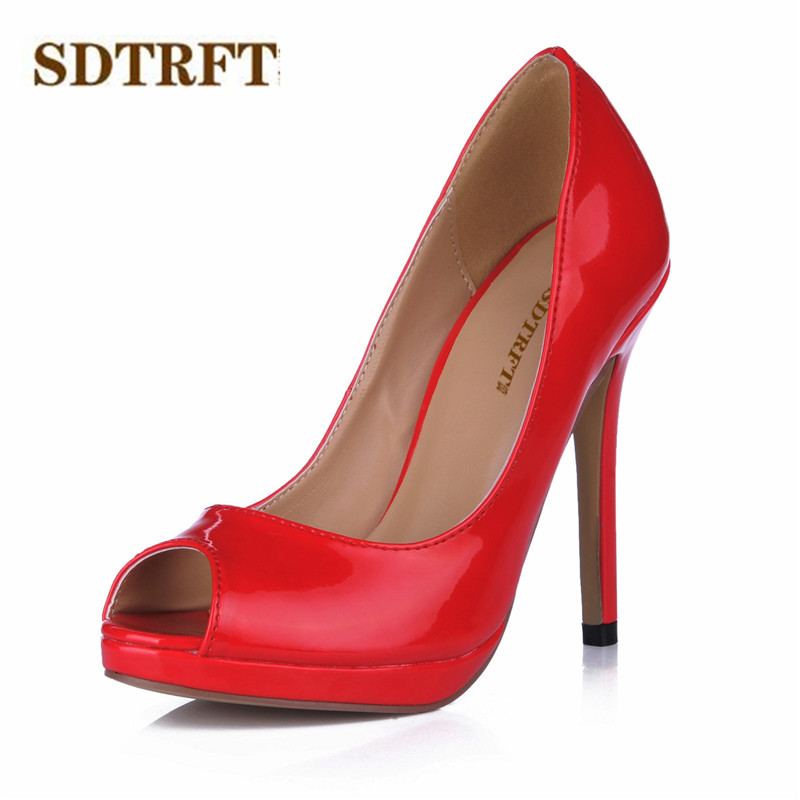 SDTRFT Stiletto Crossdresser Sandals Summer shoes woman 12cm thin high heels Peep Toe wedding pumps zapatos mujer Plus:35-42 43