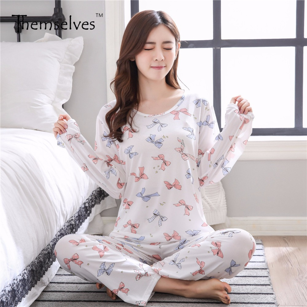 Spring Polyester Pajama Sets Long Sleeve Pajamas Homewear Print Pajamas Set Women все цены