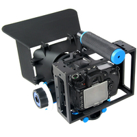 Aluminum Alloy Handheld Rail 15mm Rod DSLR Rig Video Camera Cage Rail With Top Handle Grip+Follow Focus+Matte Box for Canon Niko