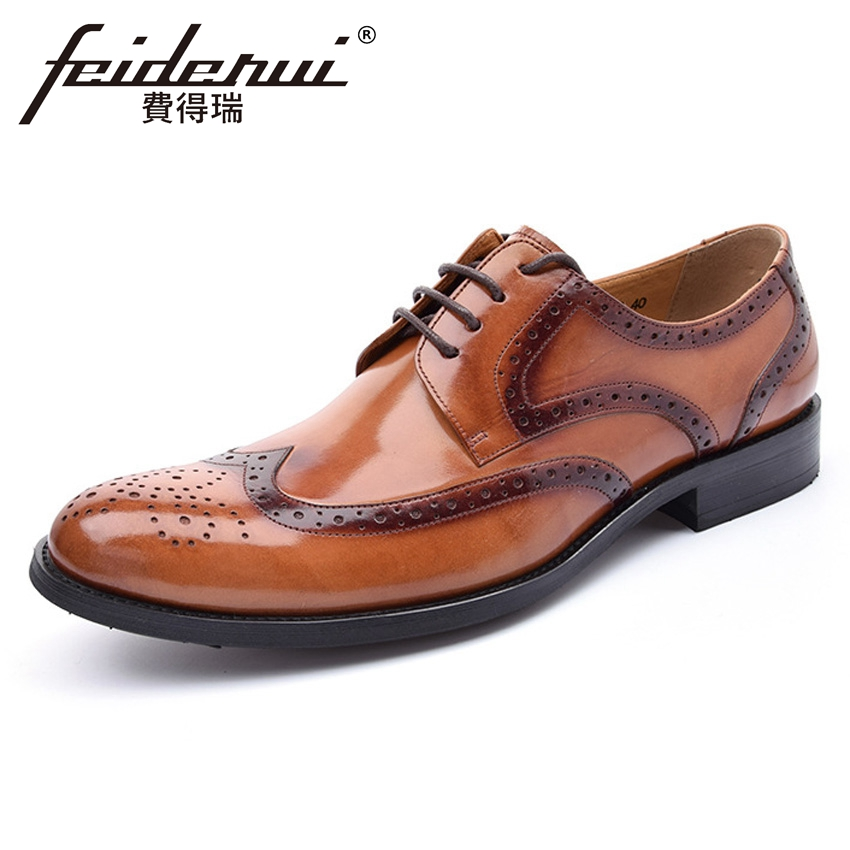 2018 Vintage Genuine Leather Men's Wedding Oxfords Round Toe Lace up Carved Handmade Man Formal Dress Brogue Shoes YMX326