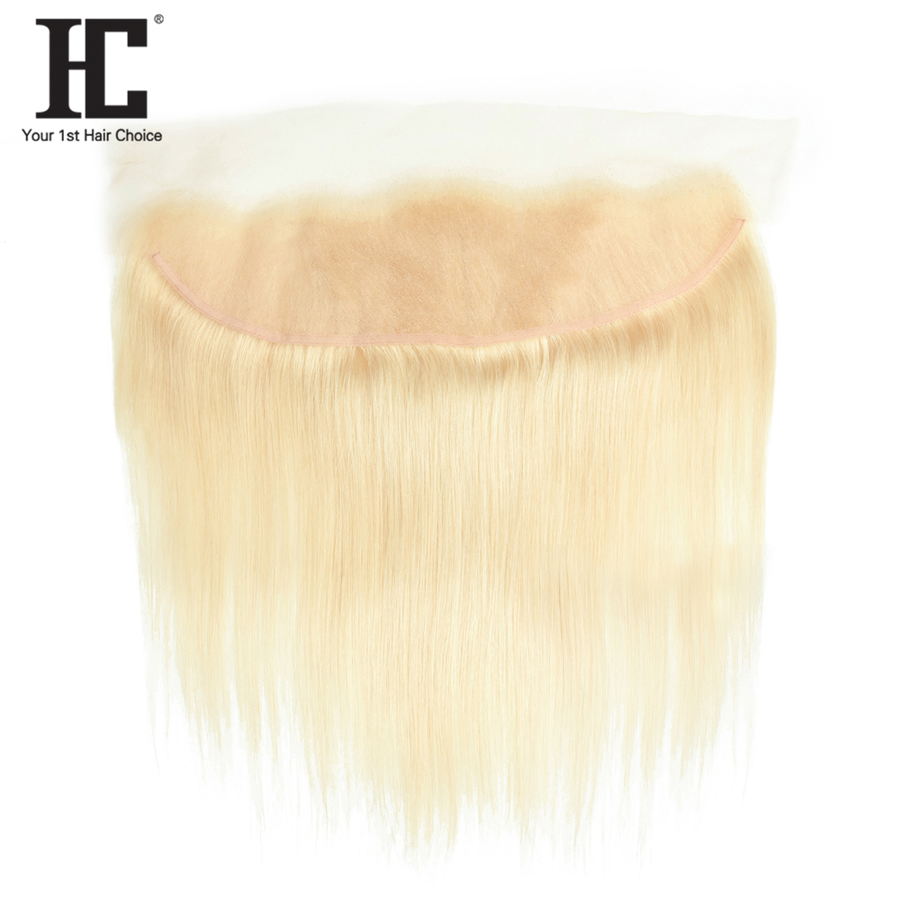 HC Hair 613 Blonde Lace Frontal Non Remy Brazilian Straight Weave 13x4 Ear To Ear Closure With Baby Hair One Bundle Pre Plucked image