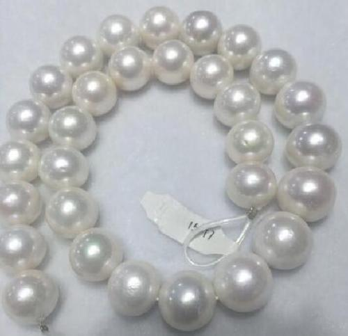"Beautiful New  HUGE 15-12 MM white natural 18"" AAA SOUTH SEA PEARL NECKLACE yellow CLASP"