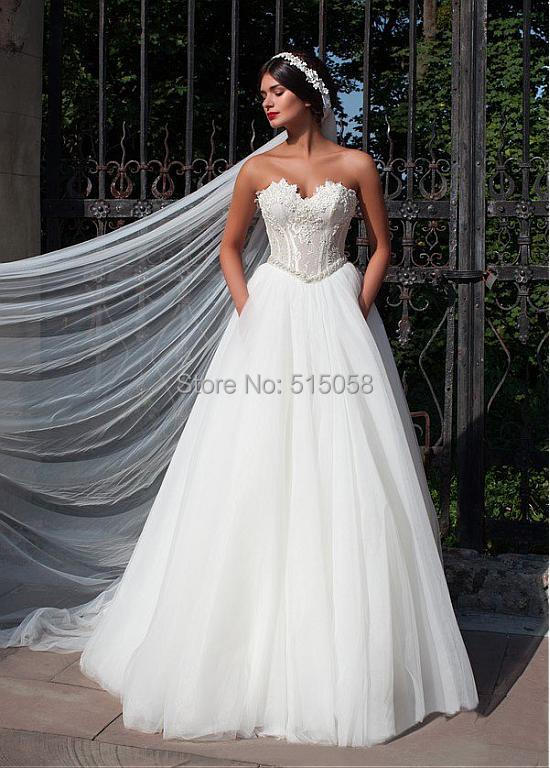 Elegant Lace Appliques Sweetheart See Through Corset Wedding Dresses