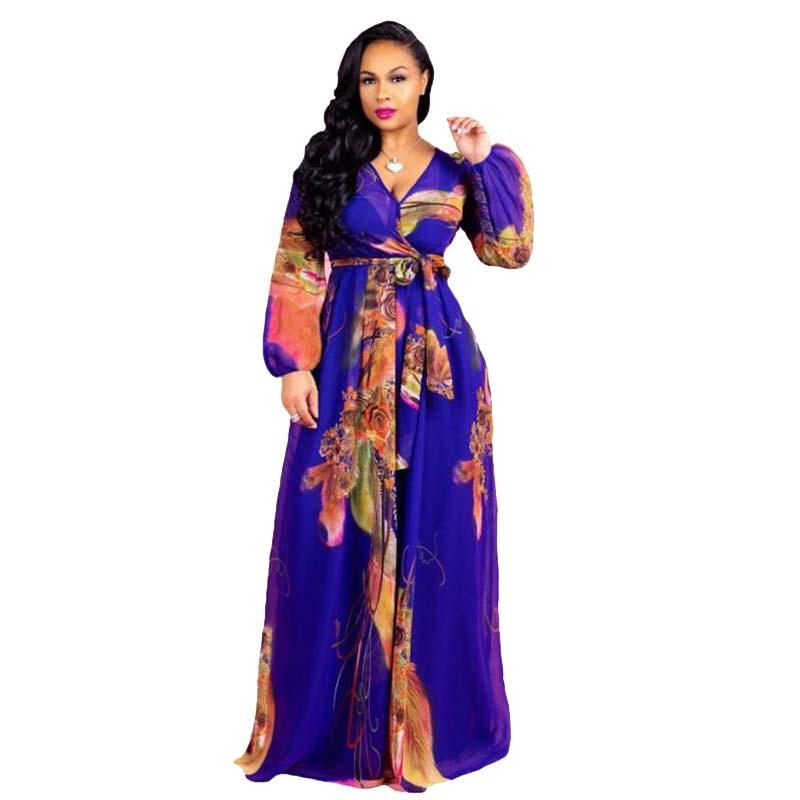 2018 Sommer Lange-ärmeln Chiffon Lange Kleider Frauen Sexy Digital Print Fashion Style Big Kleid Kleid Weibliche Große Größe 5xl Eine Hohe Bewunderung Gewinnen