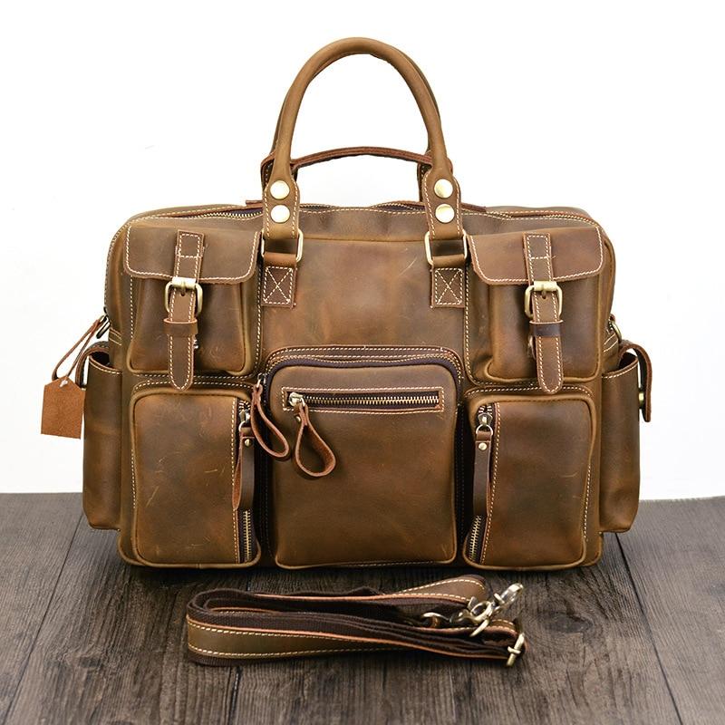 Brand Man Bag Leather Black Briefcase Men Business Handbag Messenger Bags Male Vintage Men's Shoulder Bag Large Capacity цены