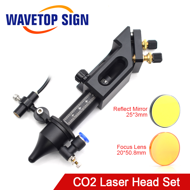 WaveTopSign Co2 Laser Head For Focus Lens D20mm F50.8 Reflect Mirror 25mm For Laser Engraving Cutting Machine
