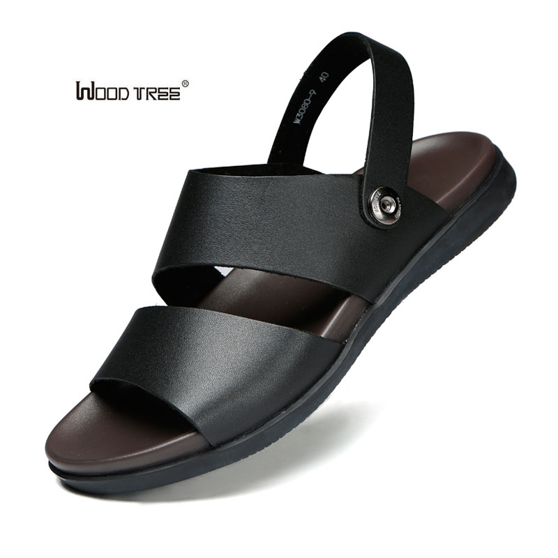 Puu puu merkki aito nahka kesän Soft miesten sandaalit kengät - Miesten kengät