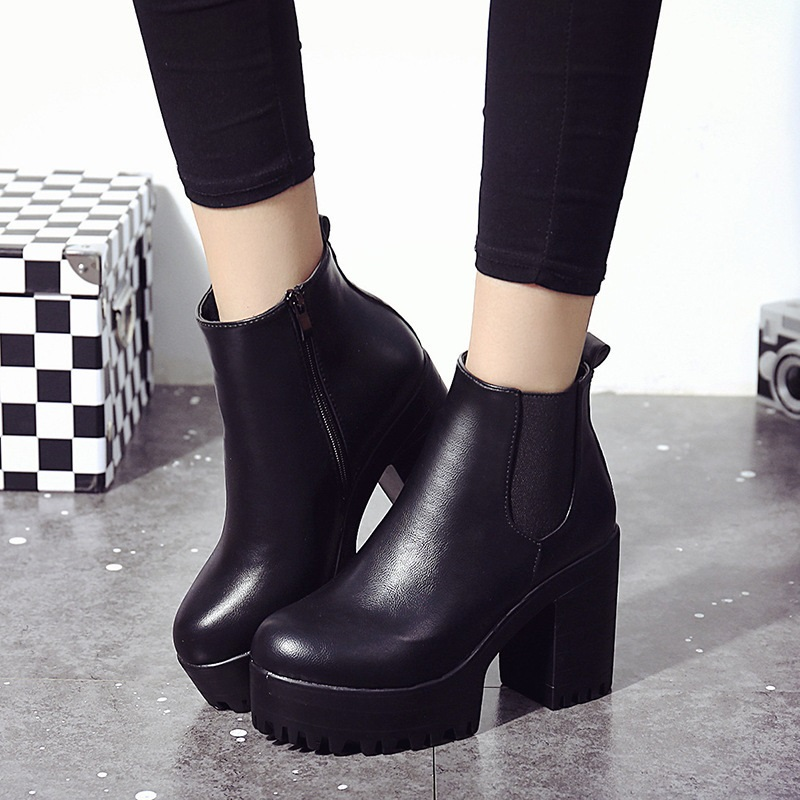 Chelsea Boots Female Leather Women Boots 2019 Thick Heels Ankle Boots For Women Round Toe Winter Shoes Women Flat Platform Boots