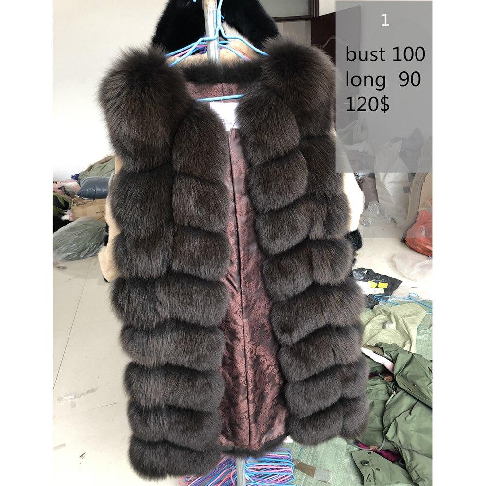 70-90 см натуральный Лисий Мех жилеты зимние длинные толстые женские Жилет из натурального меха куртка натуральный мех жилет пальто фабрична...
