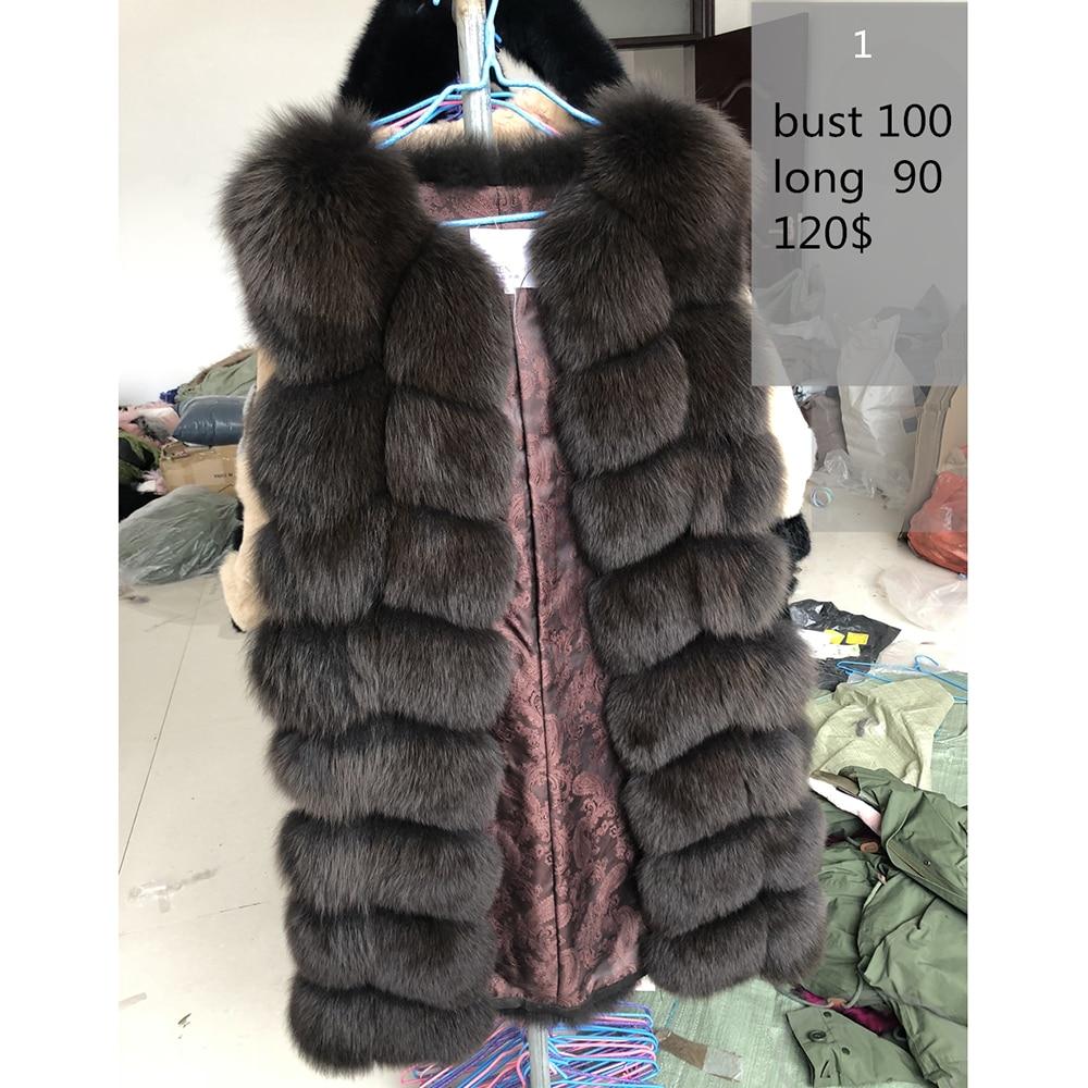 70 90CM Natural Real Fox Fur Vests Winter Long Thick Women Genuine Fur Vest Jacket Real
