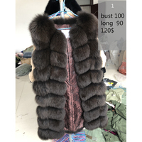 70 90CM Natural Real Fox Fur Vests Winter Long Thick Women Genuine Fur Vest Jacket Real Fur Vest Coat Factory Direct Wholesale