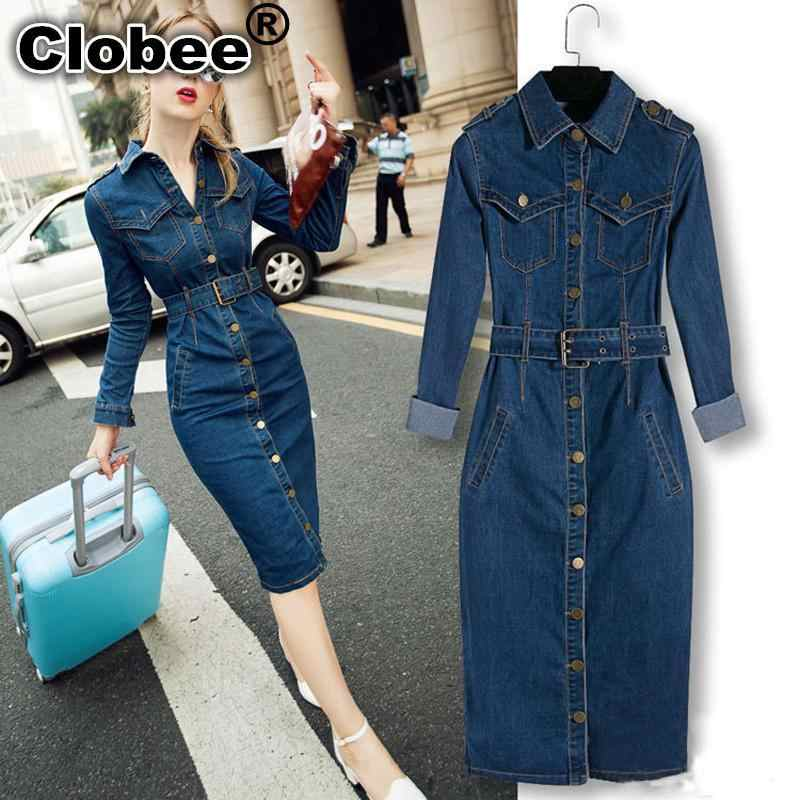 2019 Women Denim Dress Winter Office Big Big Size Jeans Mid-Cuff Dress Cowboy Dress With Belt for Women Jeans Dress Plus size T1