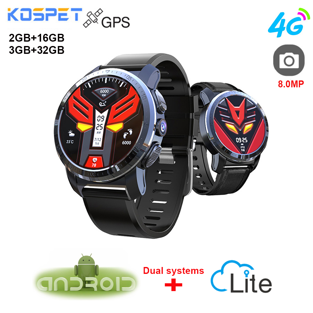 NEW Kospet Optimus Pro Smartwatch Phone With GPS 4G Watch Phone Waterproof Android 7.1 2GB 16GB / 3GB 32GB WiFi Smart Watch Men