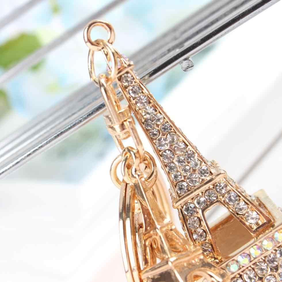 Đáng yêu Tháp Eiffel Keyring Rhinestone Pha Lê Charm Mặt Dây Chuyền Puse Thống Túi Chìa Khóa Xe Chuỗi Cô Gái Người Bạn Mẹ Con Gái Món Quà