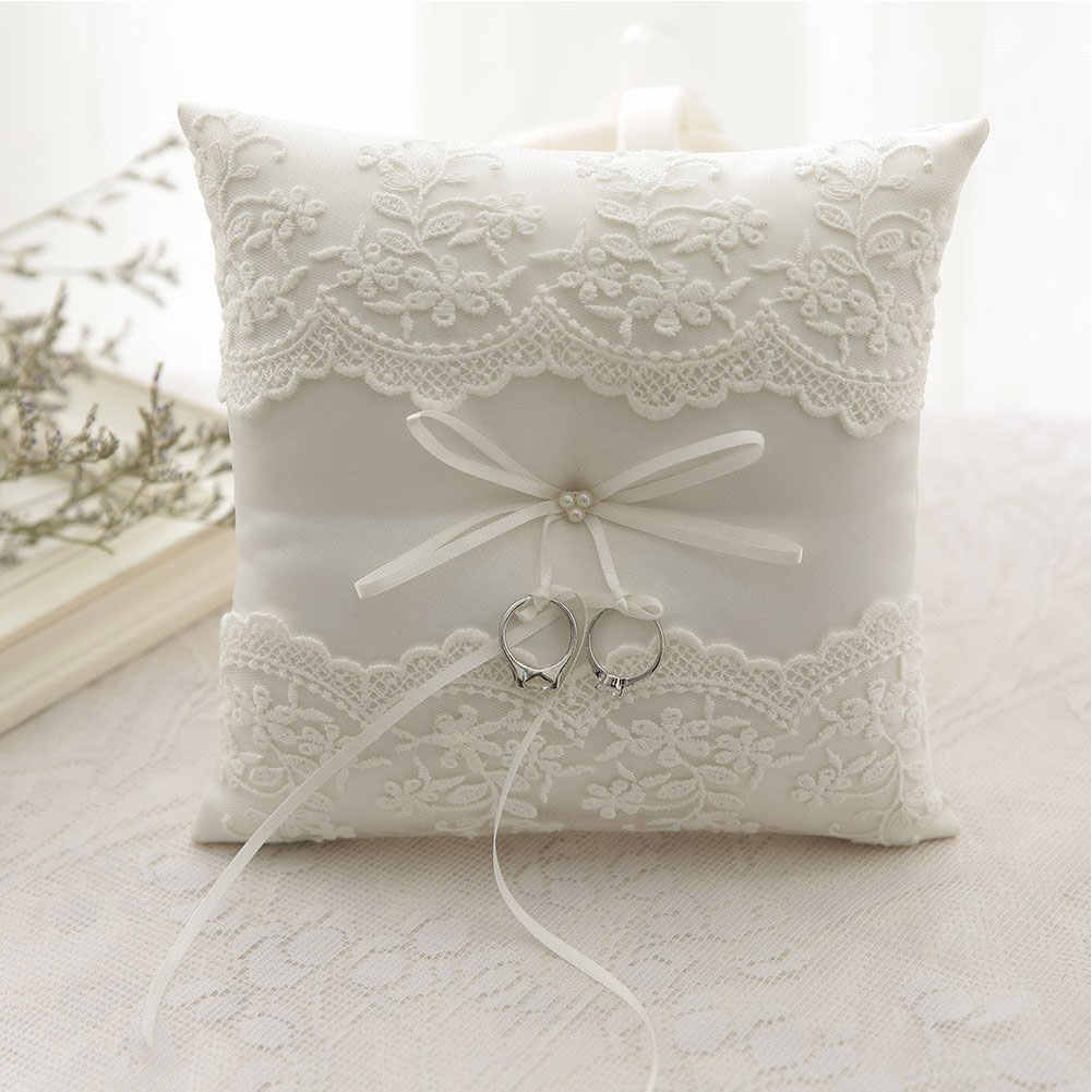 20*20CM European Bow Cushion Wedding Decor Ring Pillow Romantic Embroidered Flowers for for Wedding Ceremony Wedding Supplies