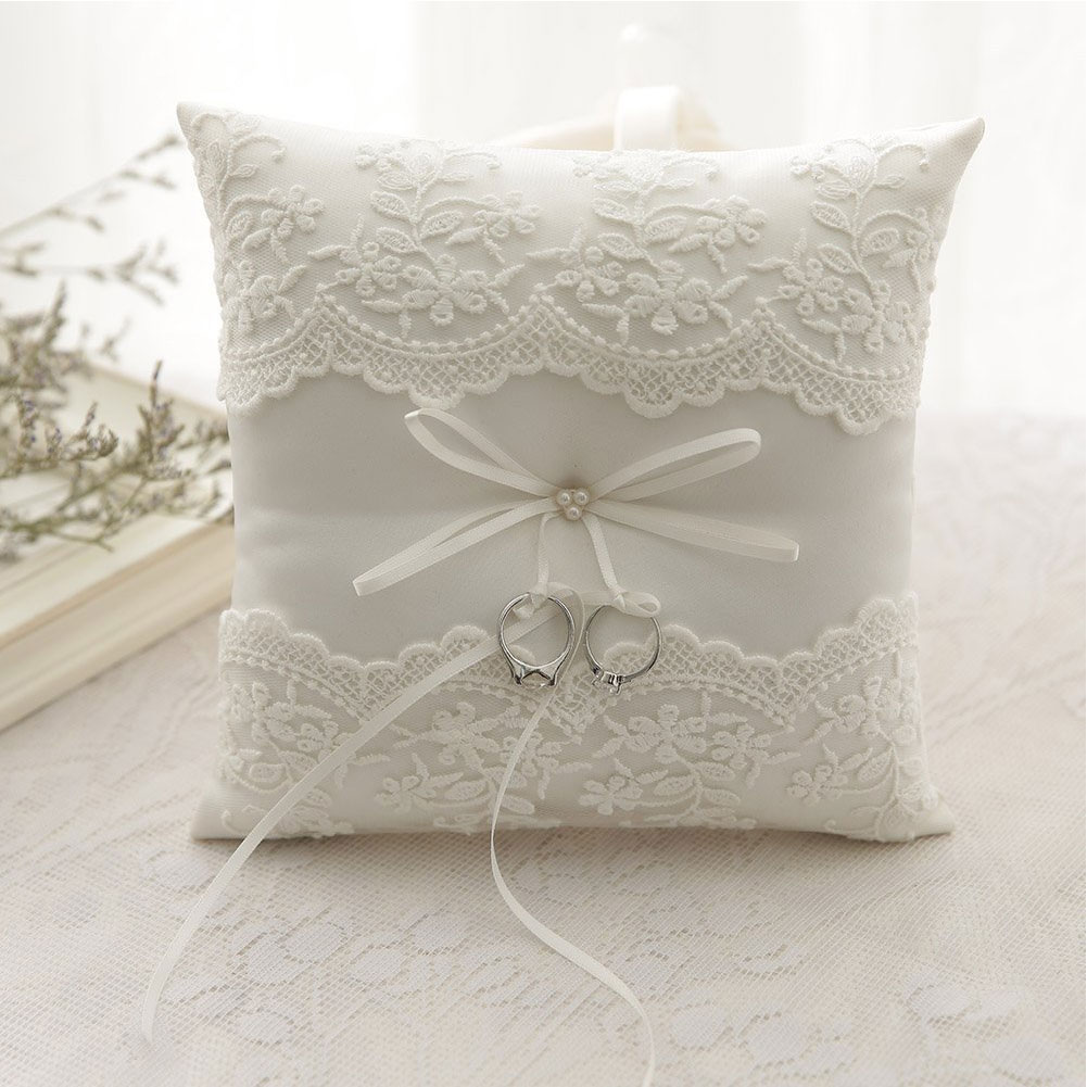 European Bow Cushion Wedding Decor Ring Pillow Romantic Embroidered Flowers for for Wedding Ceremony Wedding SuppliesEuropean Bow Cushion Wedding Decor Ring Pillow Romantic Embroidered Flowers for for Wedding Ceremony Wedding Supplies