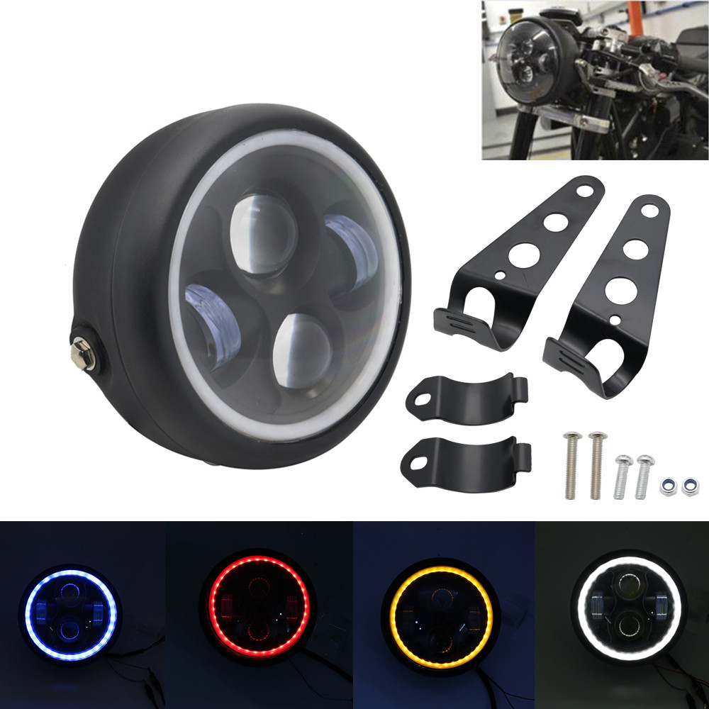 Home 6.5 Motorcycle Led Headlight Hi&lo Headlamp Bulb Drl With Angel Ring For Harley Sportster Cafe Racer Bobber 6.5 Inch Headlight Strengthening Sinews And Bones
