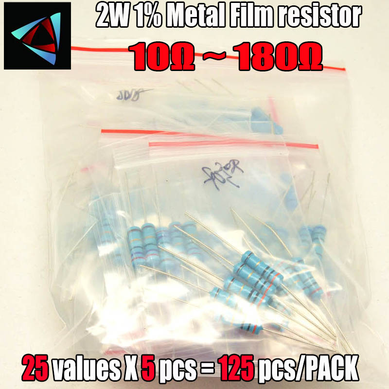 10r 180 Ohm 2w 1% Dip Metal Film Resistor,25valuesx5pcs 125pcs, Assorted Kit