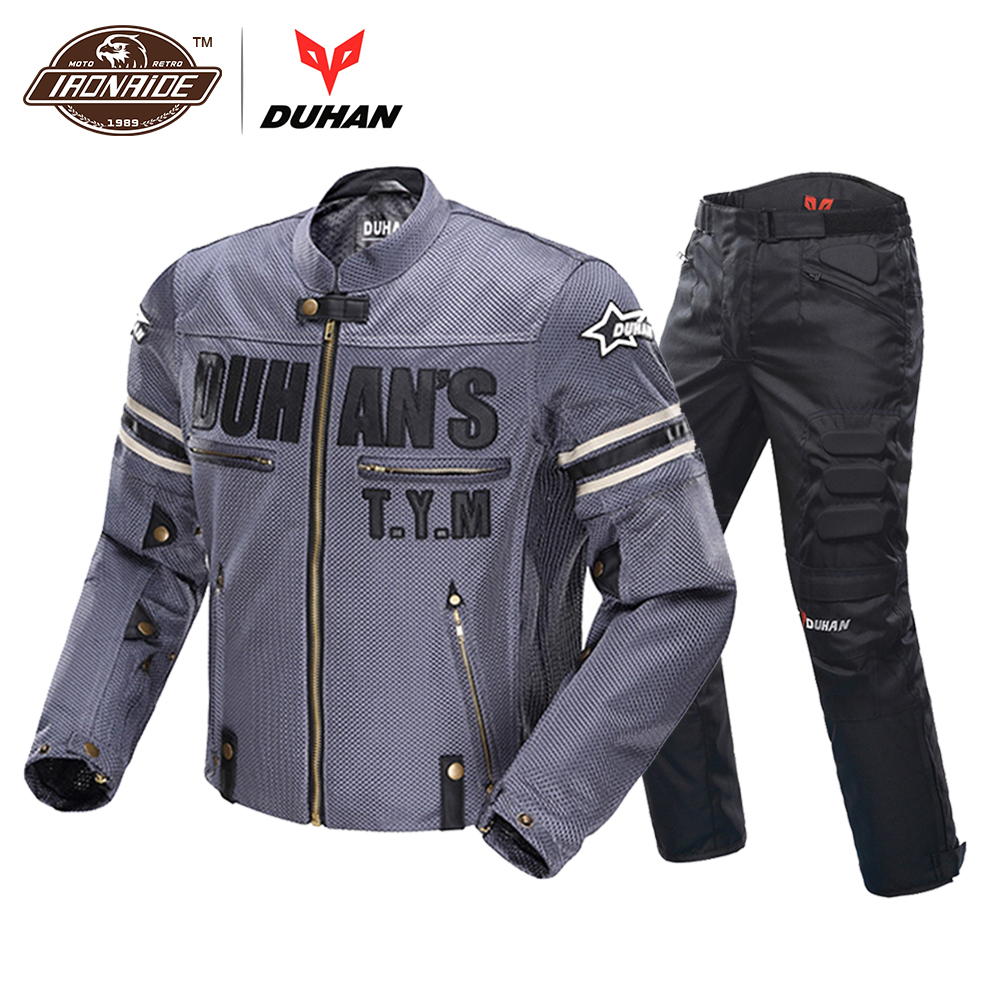 DUHAN Men Motorcycle Jacket Breathable Moto Jacke Pants Motorcycle Suit Racing Riding Motorcycle Clothing Protector duhan motorcycle jacket waterproof moto jacket men s motocross clothing motorcycle suit with elbow shoulder back ce protector