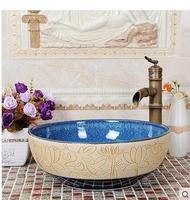 Lavatory the stage art basin sink basin Mediterranean basin color glaze wash the bathroom home